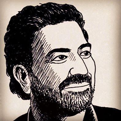 Samir Kassir illustrato dal disegnatore libanese Mazen Kerbaj (estratto dalla sua ultima short story - fonte: Facebook)