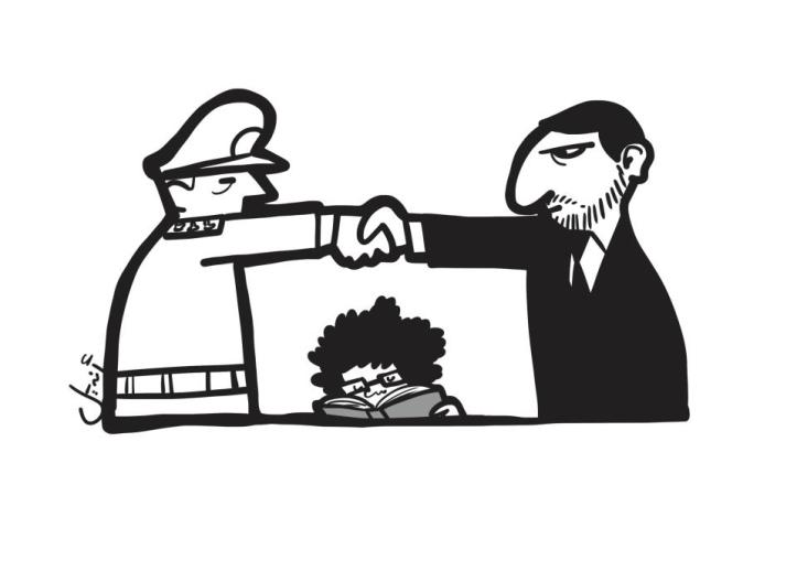 """Vignetta di Andeel, disegnatore egiziano autore della striscia a fumetti presente su questo numero di Internazionale. In questa vignetta del luglio 2012: """" I Fratelli musulmani, il Consiglio supremo delle forze armate e gli intellettuali"""" (fonte: Facebook"""